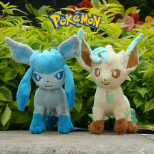 """2Pcs Pokemon Go Plush Toy Glaceon And Leafeon 7"""" Collectible Stuffed Animal Doll"""