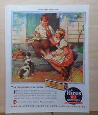 1937 magazine ad for Hires Root Beer - Make it at home, children & dog enjoy pop
