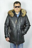 Black 100% Real Lambskin Leather Raccoon Hood Jacket Car Coat Puffer Bomber S-5X