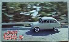 FIAT 600 D Car Sales Brochure 1961 #1660 SALOON Convertible MULTIPLA