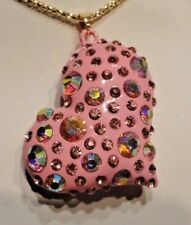 Betsey Johnson Jewelry Hollow Pink Enamel Clear CRYSTAL HEART Pendant Necklace