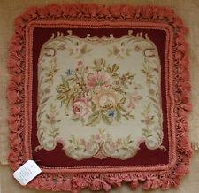 "14"" Antique Retro Victorian Rose Burgandy Beige Hand Woven Needlepoint Pillow"