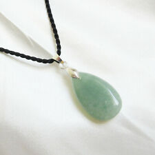 Small GREEN AVENTURINE Teardrop Shape PENDANT & Twisted Cord Necklace
