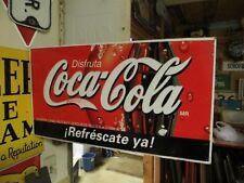 original Disfruta Coca-Cola MR Refrescate ya DOUBLE SIDED FLANGE SODA POP SIGN