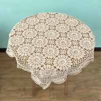 Beige Square Lace Cotton Table Cover Doily Hand Crochet TableCloth 23.6inch