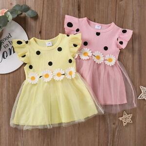 Infant Baby Girls Ruffle Tulle Tutu Dress Toddler Summer Party Princess Dresses