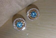 Alwand Vahan 14k Yellow Gold & Sterling Silver Swiss Blue Topaz Halo Earrings