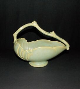 Roseville Pottery Green Capri Pattern Basket #509-8""