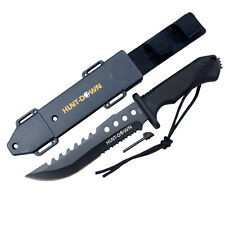 """12"""" Carbon Steel Hunting Tactical Survival Knife W/ Fire Starter & Sheath -"""