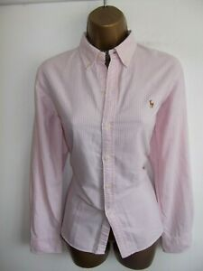 'Exquisite' RALPH LAUREN pink and white striped Oxford blouse shirt top UK 14