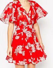 ASOS PETITE Kimono Flippy Dress in Red Floral Print
