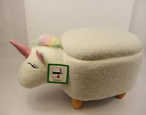Upholstered BNIB Kid's Storage Stool Sit-On Toy Box - Unicorn
