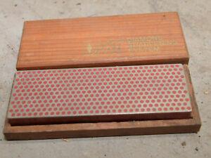 DMT Diamond Whet stone chisel knife sharpening tool red fine grit & wood box