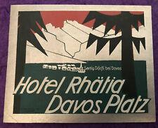 """Luggage Label ~ Hotel Rhätia ~ Davos (Switzerland) """"Gebr. Fretz AG Zurich"""""""
