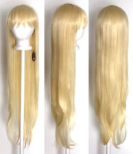 40'' Long Straight with Short Bangs Flaxen Blonde Cosplay Wig NEW