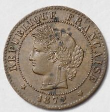 IIIe REPUBLIQUE : 1 CENTIME CERES 1872K BORDEAUX