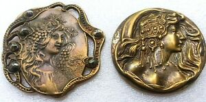 Vintage Art Nouveau Style Lady's Head Buttons, Brass, 1 Pierced with Steel Cuts