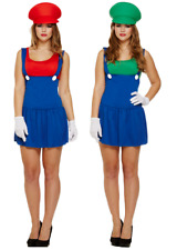 COUPLES Ladies Mario AND Luigi 1980s Halloween Fancy Dress Costume Outfit 8-12