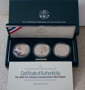 1994 Veterans Memorial POW Women in Military 3 Proof 90% Silver $1 Dollar Coins