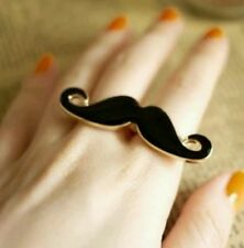 Womens two finger moustache adjustable ring. Black and gold tone UK seller