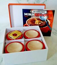 Le Creuset Mini Round Cocottes Set of 4 Red w/ Cookbook Brand new tags Free Shp