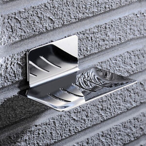 Soap Dish Tray Holder Adhesive Wall Storage Bathroom Shower Drain Plate Case