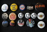 Lot of Pin back Buttons Vintage 80s Rock Def Leppard Ozzy Stranglers IBM Nixon +