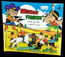 Western figuras steckfiguren hong kong 70er blister cowboys + timpo la placa base