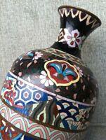 Large Antique Meiji Cloisonne Bronze Enamel Vase Taisho Enamel Japan 1880s