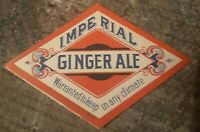 Imperial Ginger Ale Soda Drink Label From 1910 Mint Wit Original Gum