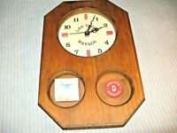 Vtg. Las Vegas Nevada Casino Wooden Clock /Chip / Matches / Dice / 13x9x1