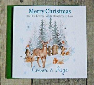Handmade Personalised Christmas Card Winter Woodland Reindeer Scene TQ