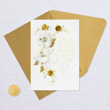Hallmark Signature Anniversary Card ~ You Make Life Beautiful ~ Gold Florals