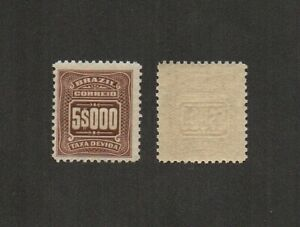 "Brazil Stamp 1906 Mi#39 5$000 Reis Numeral. ""ABN"" Taxa Devida - High value"