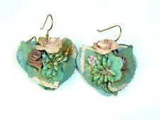 Vtg Floral Pierced Earrings Blue Heart Hippie Boho Chic Danglers Wood Fabric