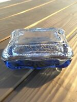 Italian Art Nouveau Marine Blue Dresser Crystal Set trinket tray jar vanity bowl