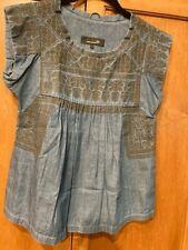 Isabel Marant Etoile  SZ 1/S DUMAS DEMMA Denim Embroidered Top Tunic # 3987