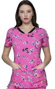 HeartSoul Scrubs #721 V-Neck Fashion Print Scrub Top in Flowering Fields Size XL