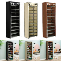 10 Tier Shoe Rack Storage Cabinet 30Pairs with Cover Wall Bench Shelf Shoe Tower