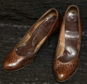 Vintage Anthony D'Alezzo New York Cuir Chaussures Talons 6 A g30