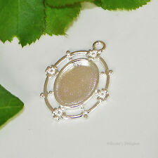 18x13 Oval Silver Plated Cabochon (Cab) Drop Setting (#RB-C4447)