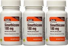Rugby Simethicone Gas Relief 180mg 60 Softgels (3 pack) =180 ! PHARMACY FRESH!