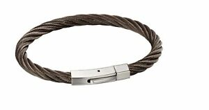 fredbennett fb Mens Gunmetal Stainless Steel Twisted Cable Rope Design Clip