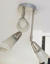 Pair of Brushed Steel 3 Light Fittings