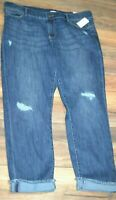 Juicy Couture Flaunt it! Denim Jeans Destructed Roll Cuff Ankle Jean Dark Wash