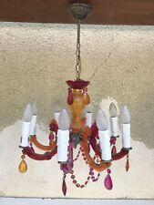 Lustre Ancien 8 Bras à Pampilles Multicolore + Laiton Suspension Lumière Vintage