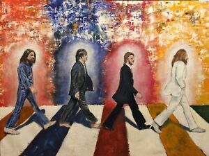 NEW The Beatles Abbey Road Painting Poster Print Art Canvas Free Shipping