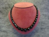 Beautiful Vintage Bohemian Faceted Graduated French Jet Black Glass Necklace