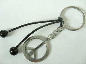 UNISEX 28 mm Edelstahl Peace Schlüsselanhänger 30 mm Ring mit Leder Bänder