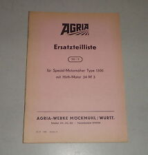 Parts Catalog/Spare Parts List Agria Universal-Motormäher Type 1300 Stand 1957